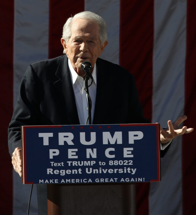 Regent University chancellor and CEO Pat Robertson delivers remarks at a campaign event for Republican presidential candidate Donald Trump at Regent University October 22, 2016 in Virginia Beach, Virginia.