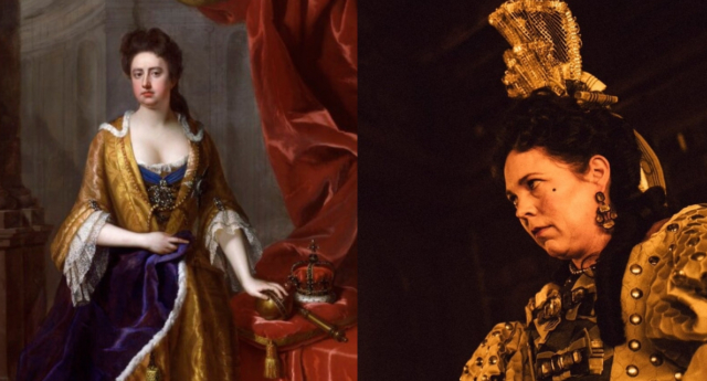 Painting of Queen Anne in the 18th century next to Olivia Colman as Queen Anne in The Favourite. (Twentieth Century Fox)