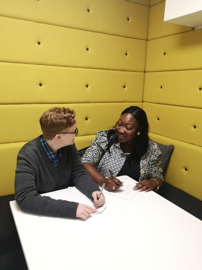 Lady Phyll and Ruth Hunt sign agreement.