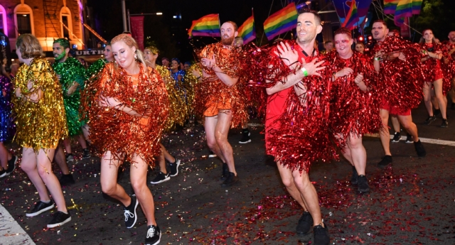 People participate in the annual Gay and Lesbian Mardi Gras parade in Sydney on March 3, 2018. (SAEED KHAN/AFP/Getty)