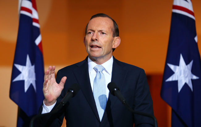 Australian Prime Minister Tony Abbott addresses the media during a press conference at Parliament House on July 18, 2014 in Canberra, Australia.