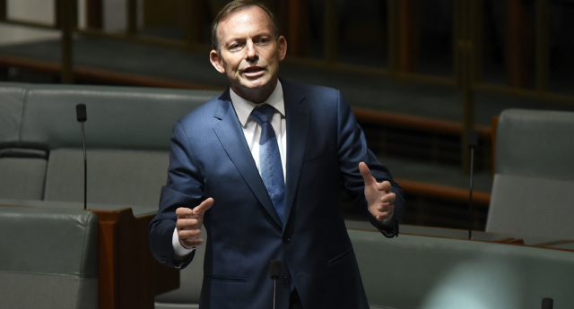 Tony Abbott speaks for amendments to the marriage equality bill at Parliament House on December 7, 2017 in Canberra, Australia. (Michael Masters/Getty)