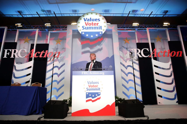 Decriminalise homosexuality: Republican presidential candidate Donald Trump addresses the Values Voter Summit at the Omni Shoreham September 9, 2016 in Washington, DC.
