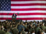 President Donald J. Trump speaks to service members and their families at Naval Air Station Sigonella during an all-hands call May 27, 2017 in Sigonella, Italy. (Mass Communication Specialist 2nd Class Christopher Gordon/U.S. Navy via Getty)
