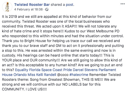 Gay bar Twisted Rooster Bar on Facebook