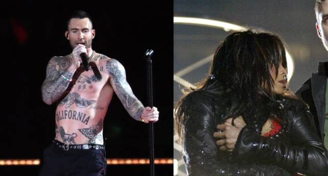 Shirtless Adam Levine (L) at 2019 Super Bowl and Janet Jackson's wardrobe malfunction at the 2004 Super Bowl (Getty Images)