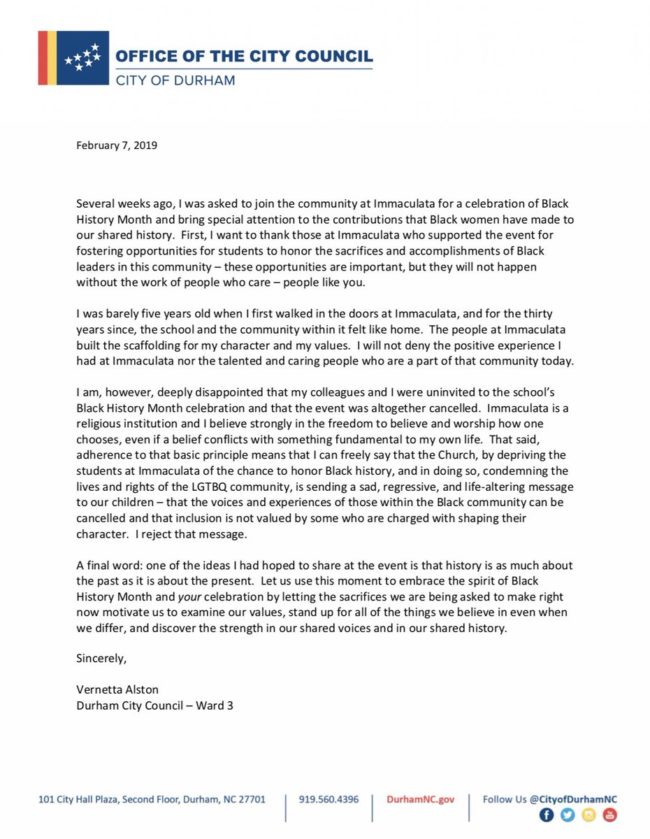Lesbian councillor Vernetta Alston posts an open letter on Twitter