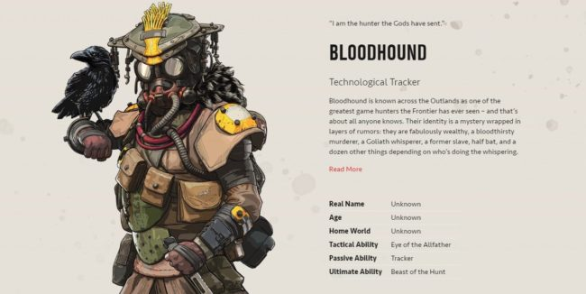 Non-binary Apex Legends character Bloodhound's backstory