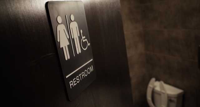 A gender neutral bathroom is seen at a coffee shop in Washington, DC, on May 5, 2016.(MANDEL NGAN/AFP/Getty)
