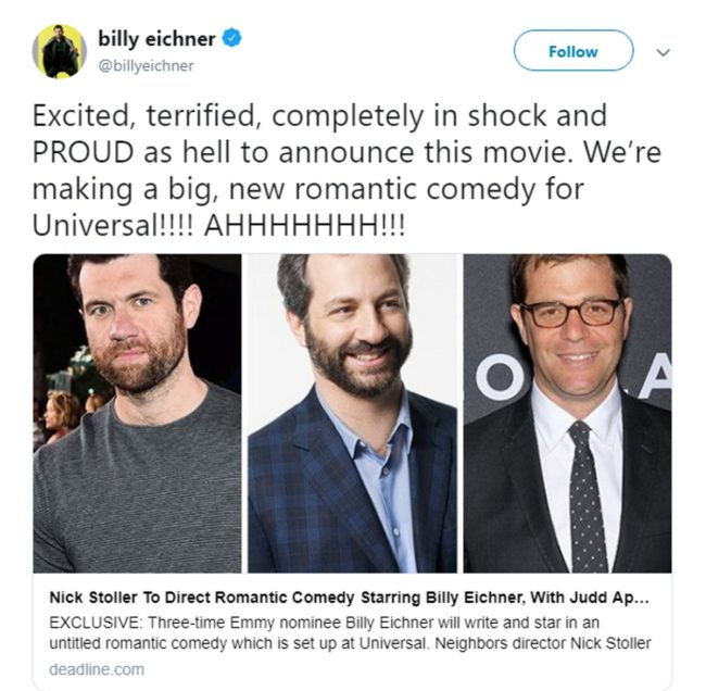 A tweet from Billy Eichner, who is set to star in a gay romantic comedy movie