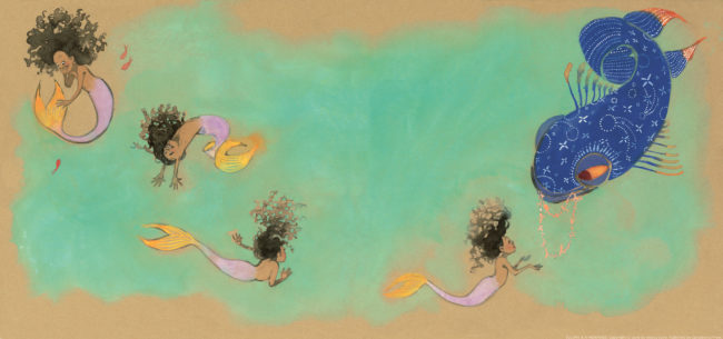 A page from Julian is a Mermaid in which the main character fantasises about being a mermaid