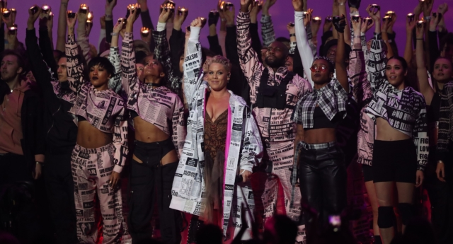 Pink stunned audiences with her BRIT Awards medley. (DANIEL LEAL-OLIVAS/AFP/Getty)