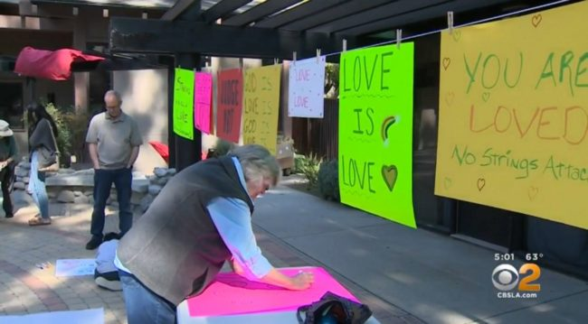 Students and Neighborhood Unitarian Universalist Church members create signs of support before the Westboro Baptist Church protests Sequoyah High School in Pasadena, California