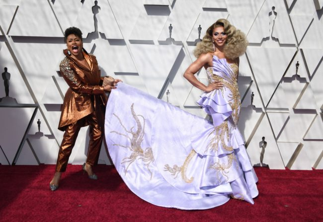 Actress Jennifer Lewis (L) and Shangela (R) arrive for the 91st Annual Academy Awards at the Dolby Theatre in Hollywood, California on February 24, 2019.