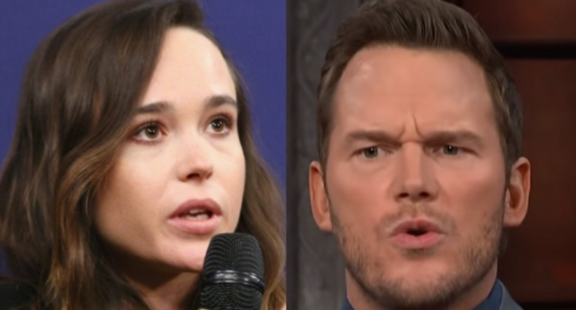 Ellen Page criticised Chris Pratt for attending the Zoe Church (The Late Show with Stephen Colbert/youtube and Rich Polk/Getty)