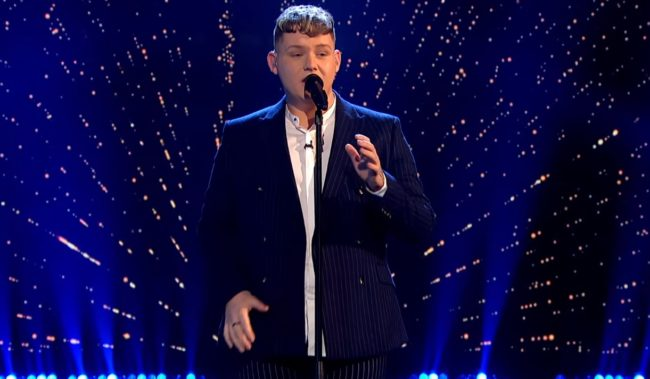 "Britain's Eurovision Song Contest entrant Michael Rice sings ""Bigger Than Us"" on the BBC on February 8 2019"