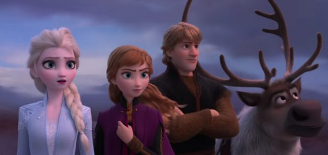 Still of Frozen 2 trailer with Anna, Kristoff, Sven and Elsa, who some fans think is a lesbian