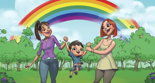 A drawing from picturebook 'My Rainbow Family' shows same-sex couples (STR/AFP/Getty)