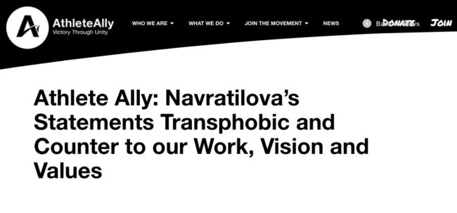 Athlete Ally released a stateemnt condemning Martina Navratilova for her 'transphobic' comments.