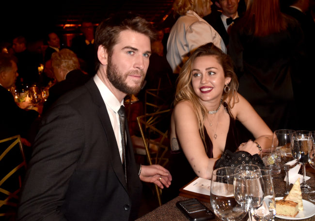 Liam Hemsworth and Miley Cyrus attend the 16th annual G'Day USA Los Angeles Gala at 3LABS on January 26, 2019 in Culver City, California.