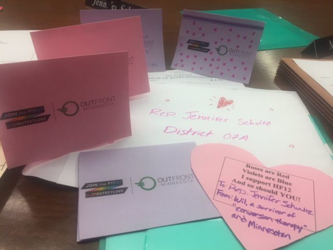 Valentine's Day cards written by people in Minnesota who want gay 'cure' therapy to be outlawed