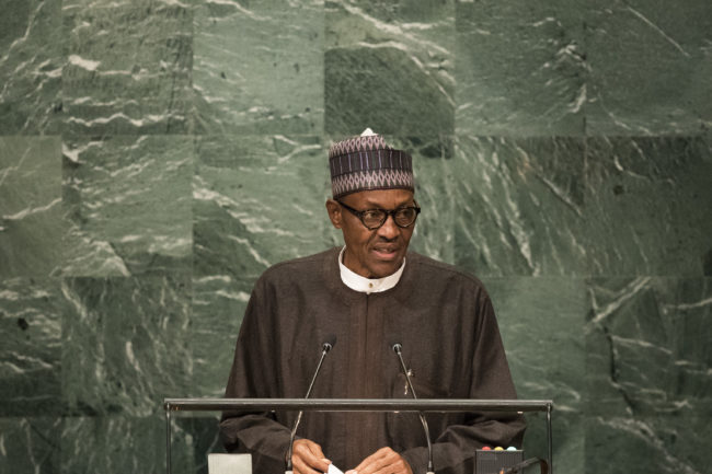 President of Nigeria Muhammadu Buhari addresses the United Nations General Assembly at UN headquarters, September 20, 2016 in New York City.