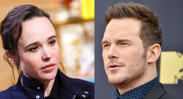"Lesbian actor Ellen Page (L) has criticised Chris Pratt (R) for attending a church that she described as ""infamously anti-lgbt."" (Rich Polk/Getty for IMDb, Frazer Harrison/Getty)"