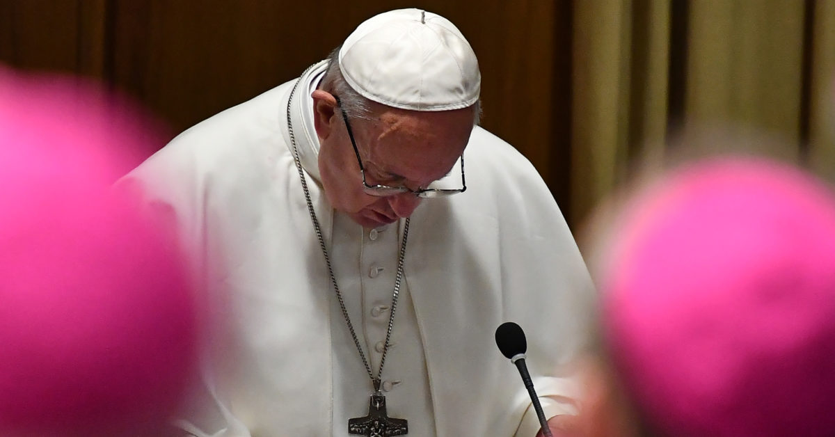 Pope Francis has set aside three and a half days to convince Catholic bishops to tackle paedophilia in a bid to contain a scandal which hit an already beleaguered Church again in 2018, from Chile to Germany and the United States. (Vincenzo Pinto/AFP/Getty)