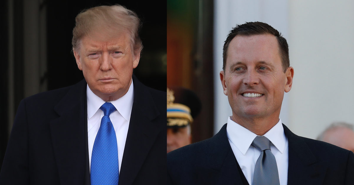 President Donald Trump (L) appeared to be unaware his ambassador Richard Grenell (R) reportedly plans a push to decriminalise homosexuality. (Win McNamee/Getty; Odd Andersen/AFP/Getty)