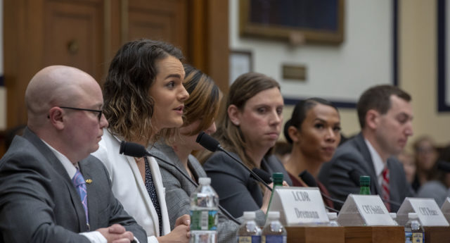"Army Captain Alivia Stehlik speaks at the Military Personnel Subcommittee hearing on ""Transgender Service Policy."" on Capital Hill on February 27, 2019 in Washington, DC. (Tasos Katopodis/Getty)"