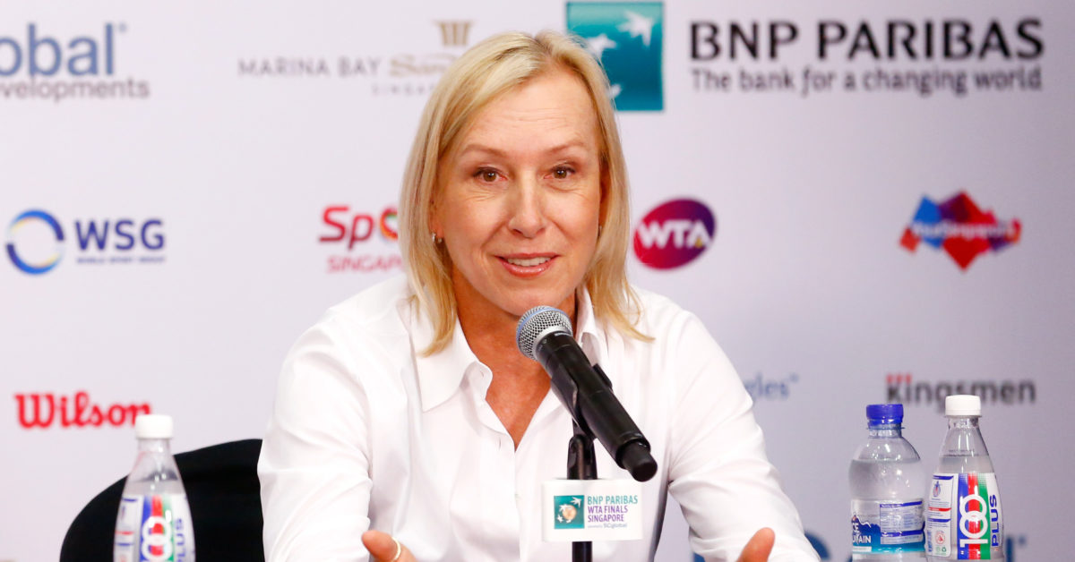 "LGBT group Athlete Ally cuts ties with tennis legends and lesbian icon Martina Navratilova condemning her ""transphobic"" comments. (Julian Finney/Getty)"