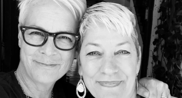 Sara Cunningham with Jamie Lee Curtis, who is making a film about her life.