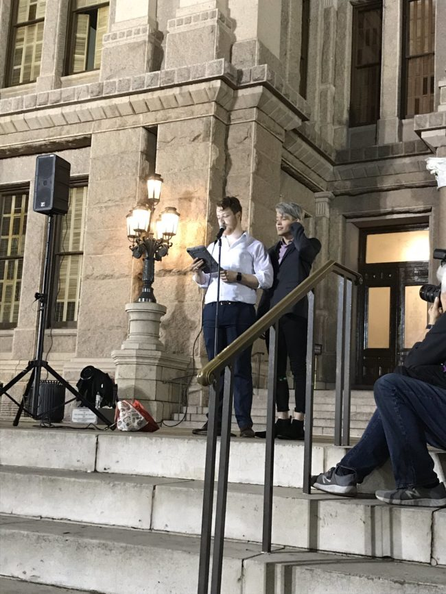 Gay couple spencer and tristan address the rally calling to end hate crimes after they were victims of a homophobic attack.