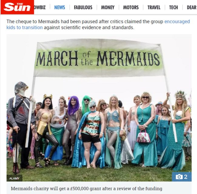 A screenshot of an article on The Sun;s website in which Mermaids is confused with March of the Mermaids