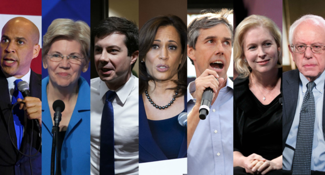 Democratic Presidential hopefuls Cory Booker, Elizabeth Warren, Pete Buttegieg, Kamala Harris, Beto O'Rourke, Kirsten Gillibrand and Bernie Sanders (Getty)
