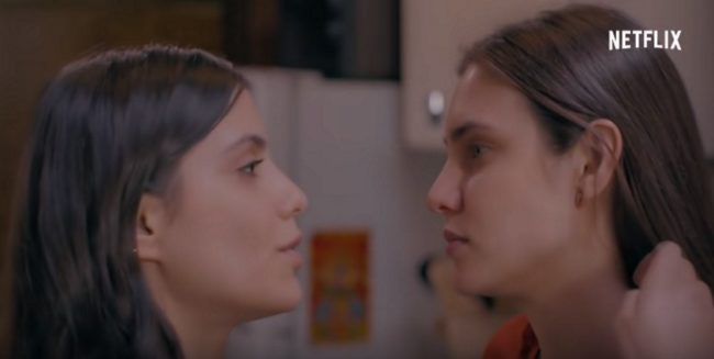 Macarena Achaga's Valentina Carvajal and Bárbara López's Juliana Valdes on Amar a Muerte. Together, they form a couple known as Juliantina.