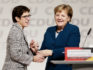 Annegret Kramp-Karrenbauer is congratulated by Angela Merkel after receiving the most votes to become the next leader of the German Christian Democrats (CDU) at a federal congress of the CDU on December 7, 2018 in Hamburg, Germany. (Carsten Koall/Getty)