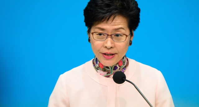 Hong Kong's Chief Executive Carrie Lam speaks at a press conference after delivering her annual policy address at the Legislative Council (Legco) in Hong Kong on October 10, 2018.
