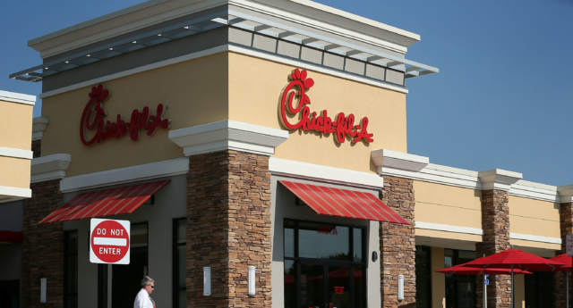 SPRINGFIELD, VA - JULY 26:  A man passes by a Chick-fil-A July 26, 2012 in Springfield, Virginia. The recent comments on supporting traditional marriage which made by Chick-fil-A CEO Dan Cathy has sparked a big debate on the issue.  (Photo by Alex Wong/Getty Images)