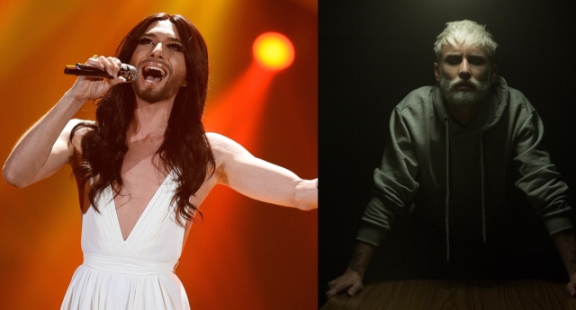 Austrian singer and Eurovision Song Contest winner Conchita Wurst in 2015, left, and 2019, right (Nigel Treblin/Getty)