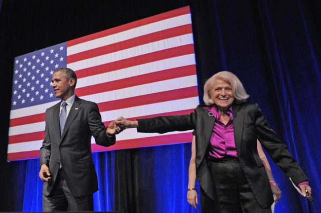 US President Barack Obama holds hands with Edie Windsor after she introduced him during the Democratic National Committee LGBT Gala at Gotham Hall on June 17, 2014 in New York.
