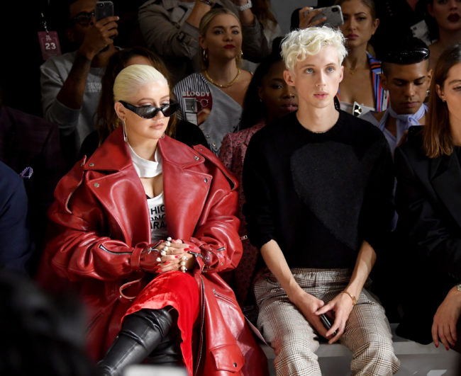 Christina Aguilera and Troye Sivan attend the Christian Cowan - Front Row during New York Fashion Week