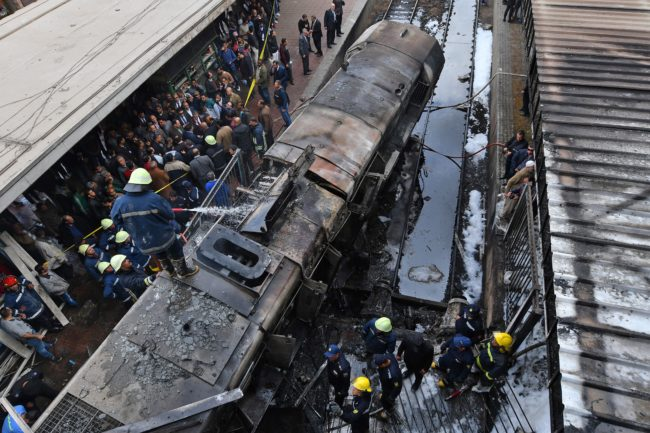 Picture of the fatal train crash in Cairo, Egypt, which spurred calls for anti-government protests from various activists, including, allegedly, trans activist Malak al-Kashef