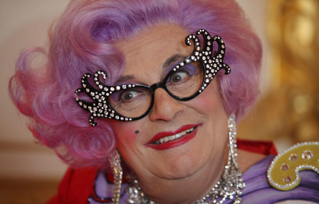 Dame Edna Everage, aka Barry Humphries attends a Royal Wedding International Media Event in London West End at Lancaster House on April 26, 2011