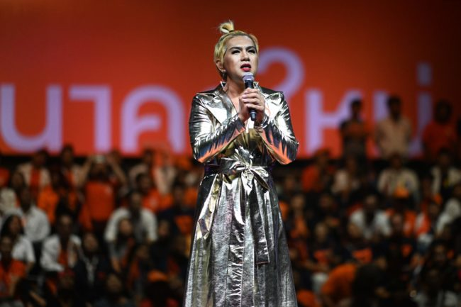 Future Forward Partys transgender candidate film director Thanwarin Sukhaphisit speaks during the party's final major campaign rally in Bangkok on March 22, 2019,