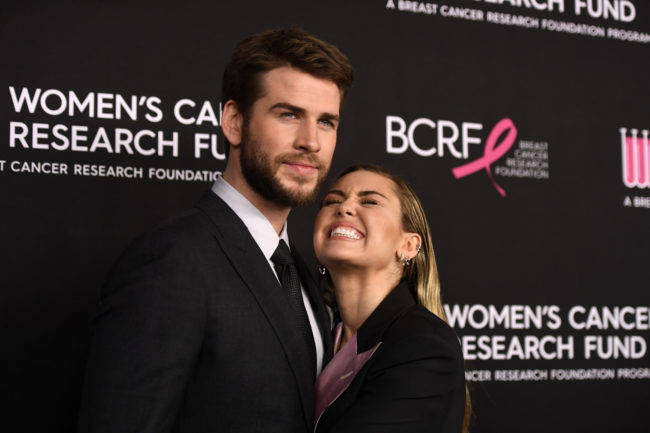 Liam Hemsworth and Miley Cyrus at the Women's Cancer Research Fund's An Unforgettable Evening Benefit Gala