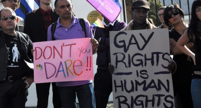 LGBT rights protesters in Cape Town (RODGER BOSCH/AFP/GETTY)