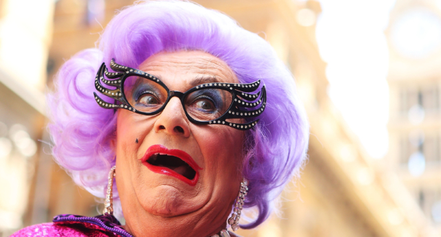 Dame Edna participates with her fans in a Zumba fitness class at Martin Place on January 15, 2013 in Sydney, Australia.  (Photo by Brendon Thorne/Getty Images)