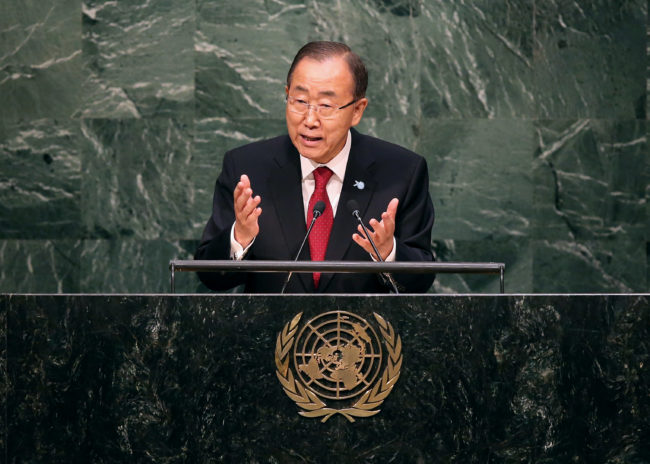 United Nations Secretary General Ban Ki-moon stands up for equality.