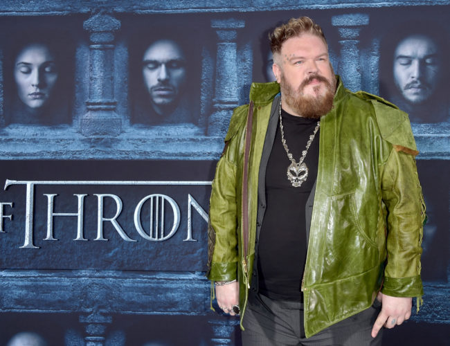 """Actor Kristian Nairn attends the premiere of HBO's """"Game Of Thrones"""" Season 6 at TCL Chinese Theatre on April 10, 2016 in Hollywood, California."""